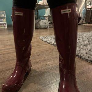 Purple tall hunter boots